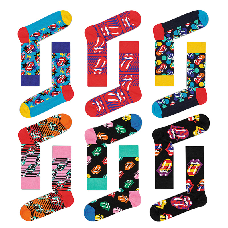 Downstairs Men Happy Socks Rolling Stone Joint Big Tongue Rock Couple Long Cotton Compression Sox Mens Christmas Socks