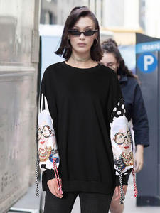 XITAO Harajuku Hoodie Pullover Sweatshirts Women Patchwork Long-Sleeve Print Black XWW2734