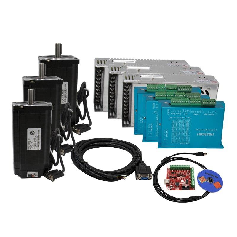 3 Kit CNC NEMA34 Closed Loop Motor 4.5N 8.5N 12N M 6A Hybrid Nema 34 HBS860H & 400W 60V DC Power Supply+ MACH3 Interface Board