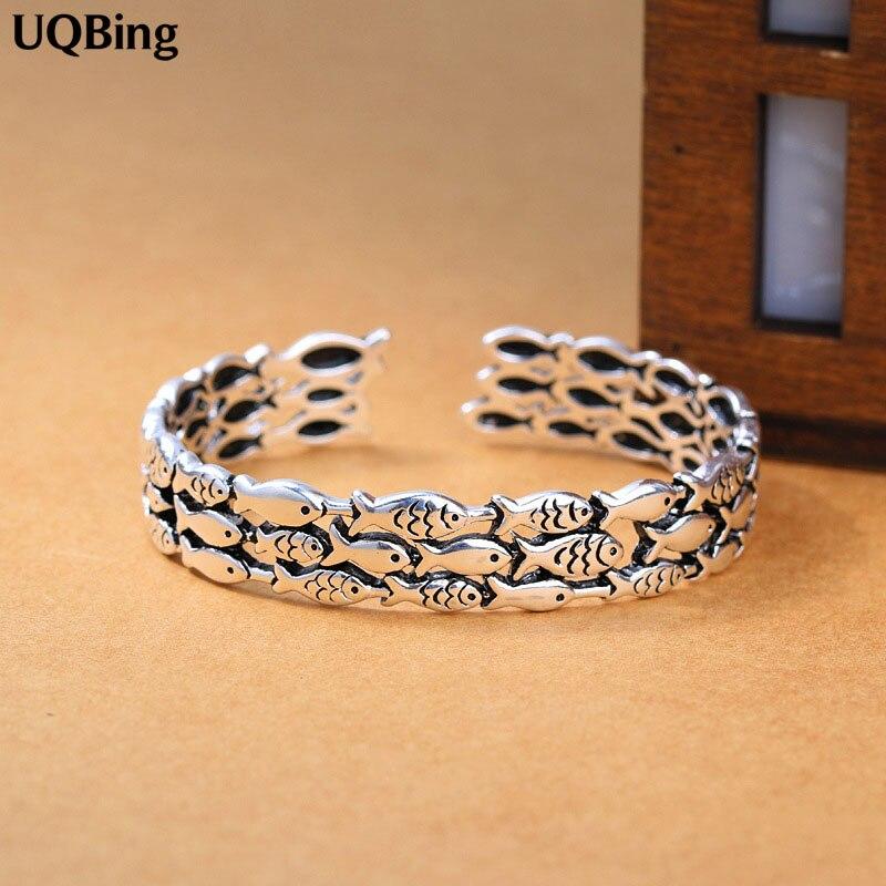 Silver Fish Bangles Jewelry 925 Sterling Silver Cuff Bangles Women Accessories Srebrna bransoletka
