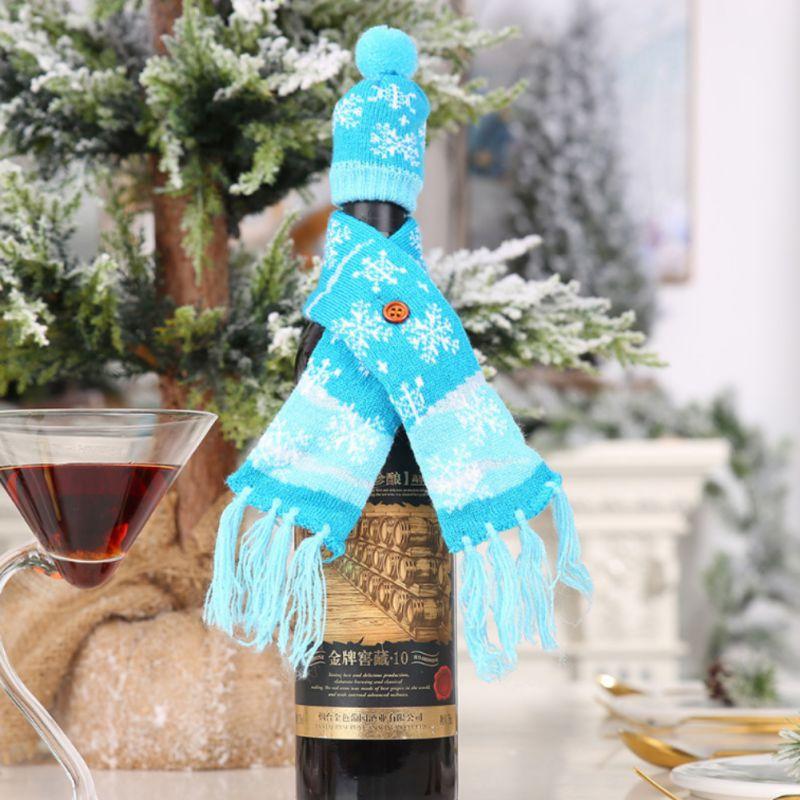 Рождественское вязаное покрытие для вина, украшение, крышка для бутылки вина, утепление, рождественские украшения для дома, Новогоднее укра... - 3