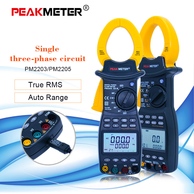 PEAKMETER Single/3-Phase Digital Power Clamp Meter Rue-RMS 4 Wire Harmonious Clamp Current Circuit Meter RS232C Interface