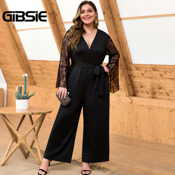 GIBSIE Plus Size Lace Flare Sleeve V-Neck Belt Jumpsuit Women Long Black Elegant Office Lady High Waist Wide Leg Jumpsuits