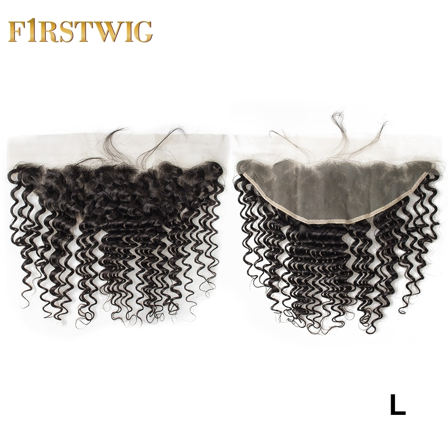 Brazilian Transparent/Swiss Curly Lace Frontal Closure pre plucked Remy Human Hair For black women 13x4 Low Ratio FirstWig