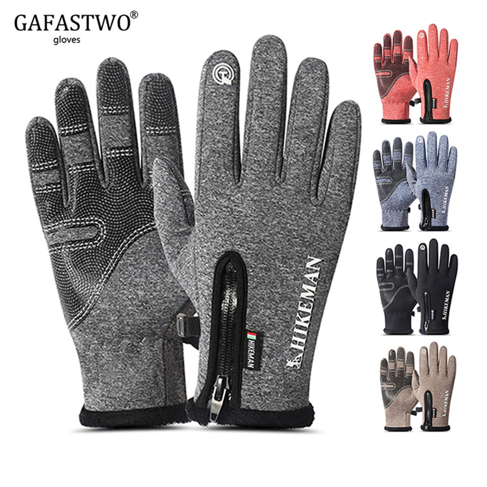 New Winter Warm Waterproof Man Gloves Touch Screen Woman Plus Velvet Wind-proof  Five Colors Non-Slip Gloves