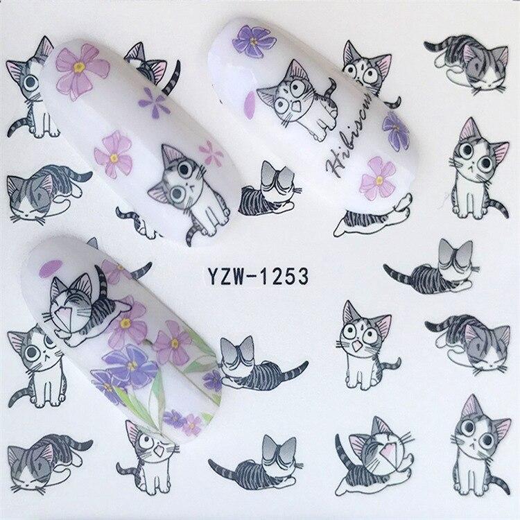 Water Transfer Nail Sticker Cute Cartoon Cat Zipper Bow Flower Nail Sticker Flower Jewelry Wholesale