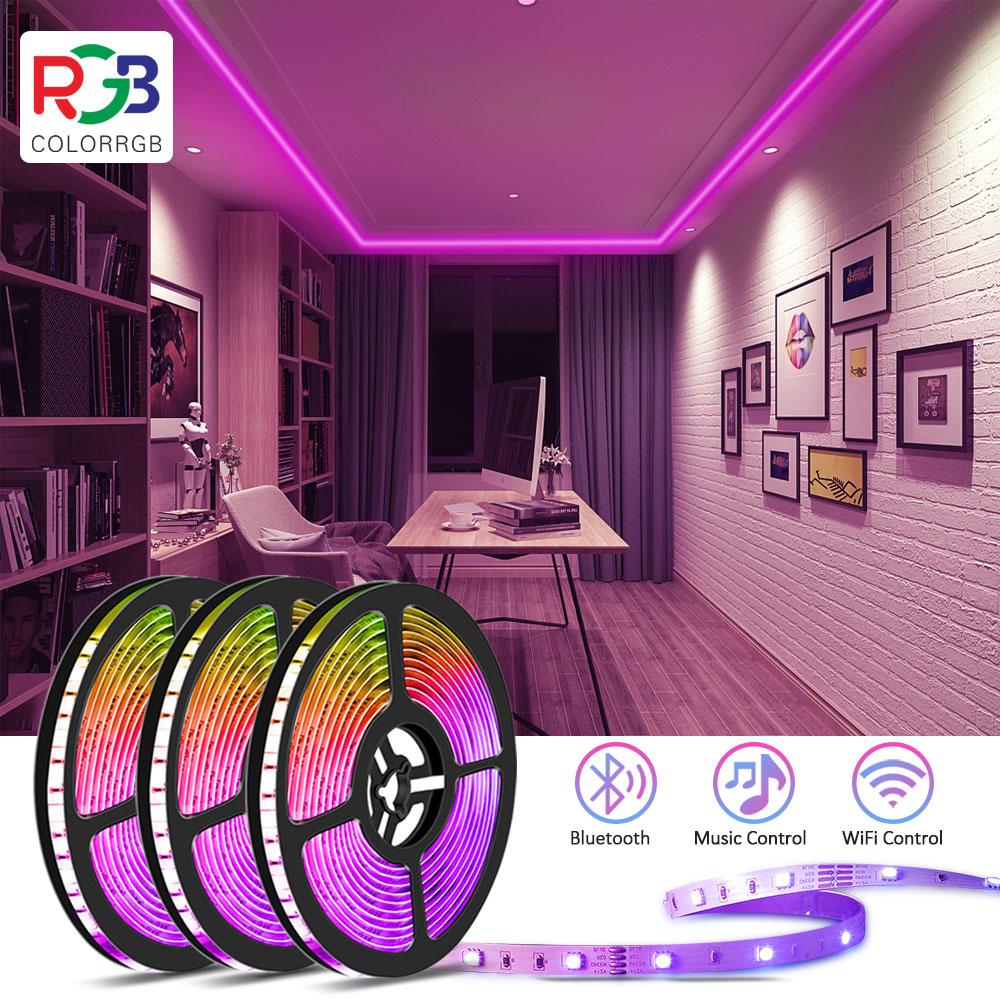 Светодиодная полоса освещения, 30 м (100 футов),SMD5050 Bluetooth, музыкальная синхронизация, 16 миллионов цветов, диммируемая, DIY, умные светодиодные по...