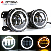 2PCS 4 Inch Round Led Fog Light Headlight 30W Projector lens With Halo DRL Lamp Offroad For Jeep Wrangler Jk Dodge hummer H1