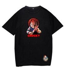 Custom T-Shirt Chucky Horror Tees Streetwear Black White Wholesale Women Summer Hipster