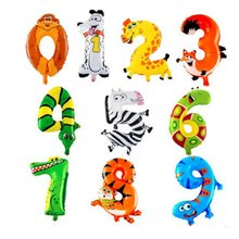 10 PCS Jungle Animal Theme Balloons Baby Child Christening Number Balloon Boy Girl Birthday Party Hat Digit Birthday Party