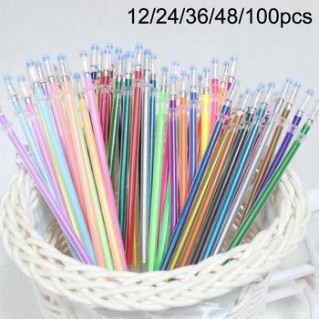 12/24/36/48/100Pcs Multicolor 1mm Writing Painting Gel Pen Replaceable Refills Multicolor Replaceable Refills Write Smoothly image