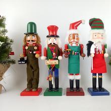 1pc 38CM Wood Christmas Nutcracker Puppet Soldier Ornaments Desktop Decoration Window Props Chidren Gift