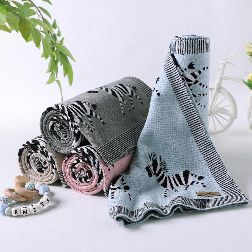 Baby Blankets Newborn Soft Swaddling Wrap 100*80cm Cotton Knitted Infant Kids Cartoon Stroller Bed Quilts Children's Accessories