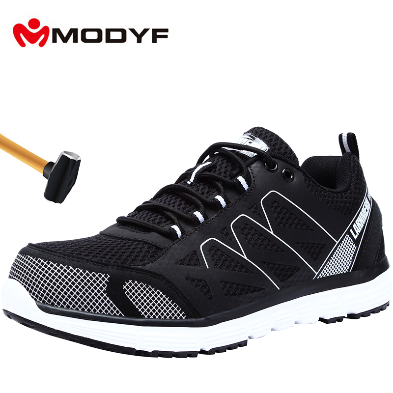 MODYF Men's Steel Toe Work Safety Shoes Lightweight Breathable Anti-smashing Anti-puncture Non-slip Reflective Casual Sneaker