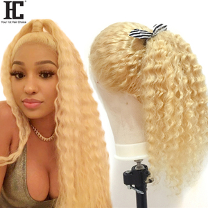 613 Blonde Lace Front Wig Brazilian Deep Wave Pre Plucked With Baby Hair Transparent Lace Front Human Hair Wigs Remy Lace Wig HC(China)