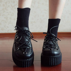 Vintage Shoes Platform Girl Thick Women Japanese Dark-Black Muffin Retro Harajuku Soled