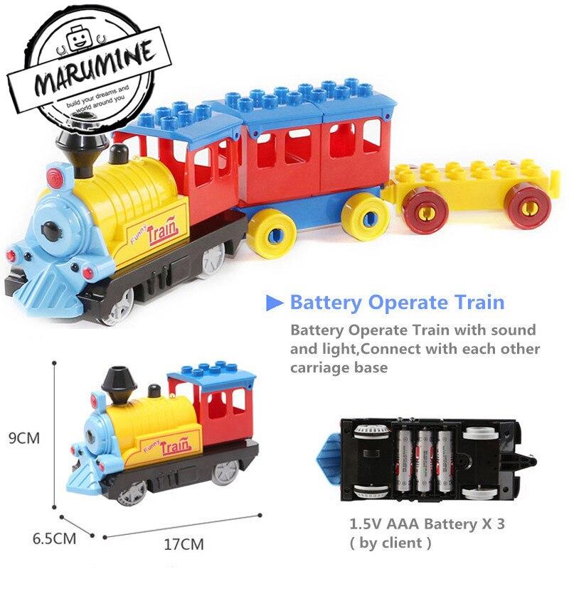 Bateria Operado Marumine Duplo Trem Brinquedos de Blocos de Construção Crianças Brinquedo Educativo Presente Trem Elétrico para As Crianças