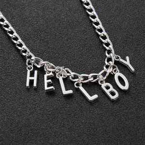 Цепочка оригинальная индивидуальная в стиле хип-хоп с надписью «Hellboy», ожерелья-Чокеры для женщин, цепочка модного серебристого цвета в сти...