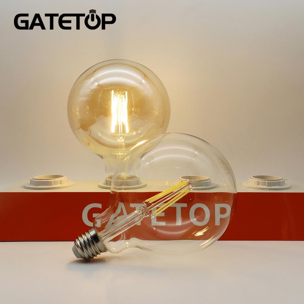 Chrismas Decor 2 teile/los Retro Edison LED Glühlampe G125 8W 220-240V Gold Glas Globale Birne hause Dekoration
