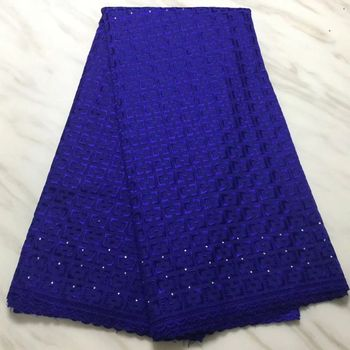 5Yards/pc Fashion royal blue african cotton fabric embroidery swiss voile dry lace for clothes BC101-6