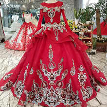 LS54744 royal red vintage party dress o neck long tulle sleeves lace up back evening dress with lace flowers and beading 2018