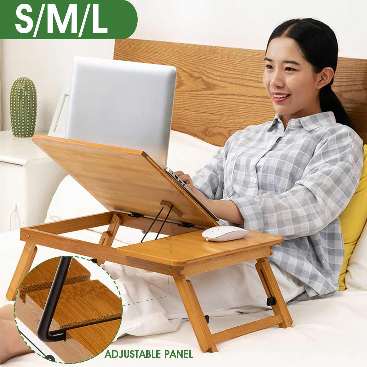S/M/L Folding Height Adjustable Small Table For Computer Notebook Desk Bed Table Portable Bamboo Laptop Stand Desk