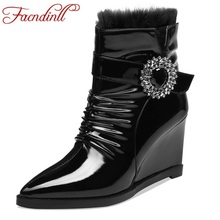 FACNDINLL patent leather women black ankle boots motorcycle female autumn winter warm shoes woman punk wedges riding