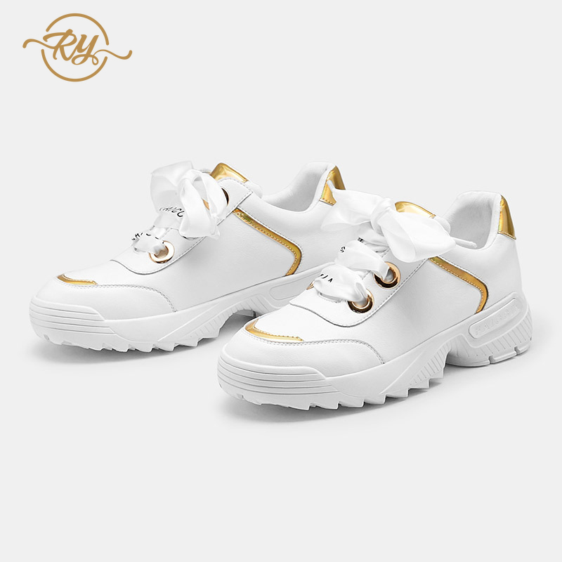 RY-РЕЛА/Модная женская обувь 2019 г. Новая спортивная обувь женская белая обувь на толстой подошве Женская универсальная обувь на плоской подо...