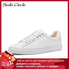 White Sneakers Platform Smile Circle Genuine-Leather Women Ladies Flat Fashion Lace-Up