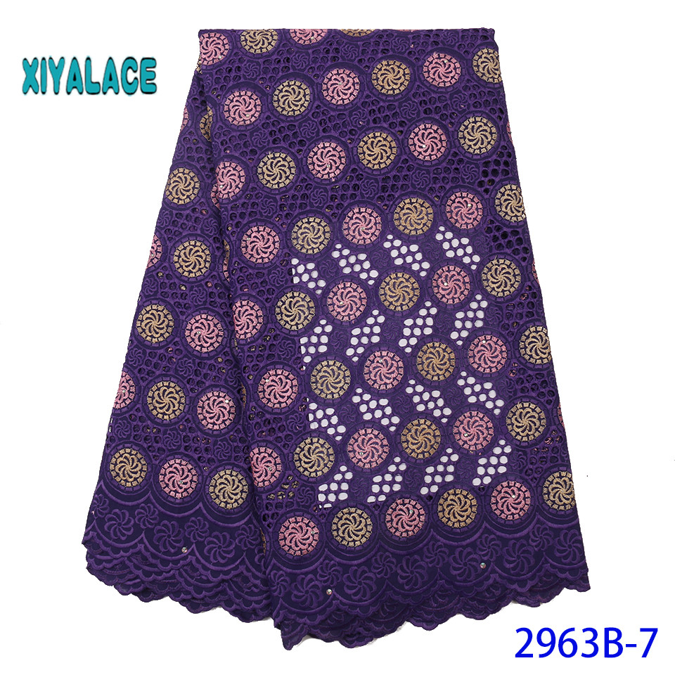 African Lace Fabric Nigerian 2019 High Quality Lace French Lace Fabric Embroidery Fabric Voile Suisse Lace Fabrics YA2963B-7