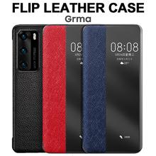 Originele Lederen Flip Cover Voor Huawei P40 Pro Plus Case Spiegel Smart Touch View Windows Voor Huawei P30 P20 pro Case