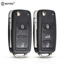 KEYYOU 2/3 tasten Folding Auto schlüssel Switchblade Key Flip key Shell für VW polo passat b5 Tiguan Golf VOLKSWAGEN Sitz skoda