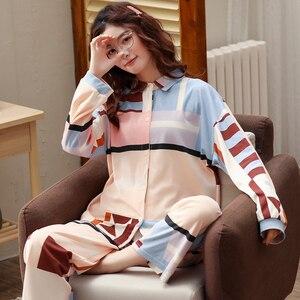 Image 4 - BZEL חדש נשים של פיג מה סט ארוך שרוולים ארוך מכנסיים הלבשת גבירותיי מקרית Homewear Loungewear Cartoon Nightwear פיג מה Pyjama