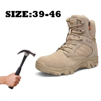 2019 Men's Military Tactical Boots Waterproof Hiking Combat Boots Army Side Zip Work Safety Jungle Boots 35-47