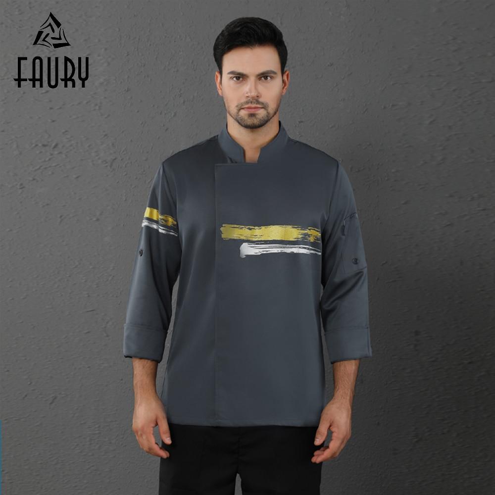 Long Sleeve Master Chef Uniform Jacket Hotel Canteen Cafe Barber Shop Work Shirt Unisex Men Women Cook Uniform Free Scarf Gift