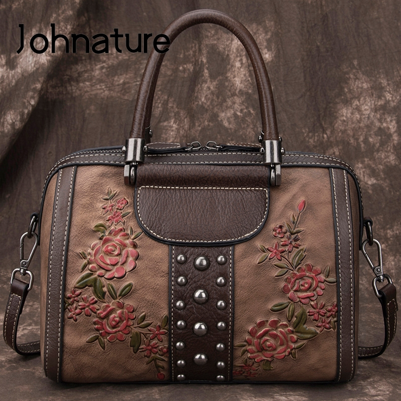 Johnature Retro 2020 New Cow Leather Women Bag Hand Painted Floral Handbag Large Capacity Cowhide Shoulder & Crossbody Bags