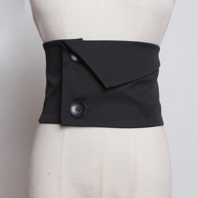 LANMREM 2020 New Fashion Double Buckle Black Girdle For Women All-match Elastic Waist Cummerbunds Female Cloth Accessories YG420