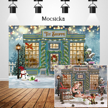 Mocsicka Christmas Toy Store Photographic Studio Photo Background Snowman Christmas Tree Decorations Prop Winter Snow Backdrops mocsicka christmas winter snow night backdrops for photography christmas tree fence decor photographic studio photo backgrounds