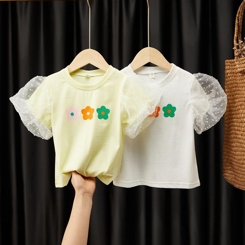 2020 Baby Girl Fashion Clothing  Cotton Puff Sleeve T-shirt Children Party Birthday Wear Clothes