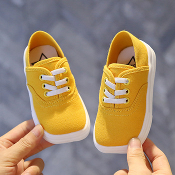 Autumn Kids Canvas Shoes Solid Color Baby Girl Shoes Soft Bottom Toddler Sneakers Children Girls Flat Loafers Boys Shoes SMG135 kids sneakers for boys girls new autumn sport shoes soft bottom child running shoes baby white casual flat kids canvas shoes