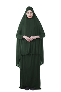 Image 2 - Kalenmos Formal Muslim Prayer Garment Sets Women Hijab Dress Abaya Islamic Clothing Dubai Turkey Namaz Long Khimar Jurken Abayas