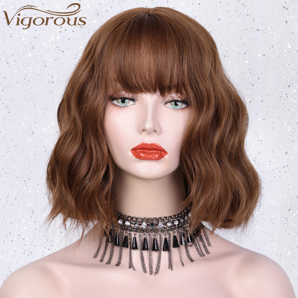 Vigorous Short Wavy Wig With Bangs Synthetic Wigs For Women Natural Brown Black Hair Ombre Blue Bob Wigs Heat Resistant Fiber