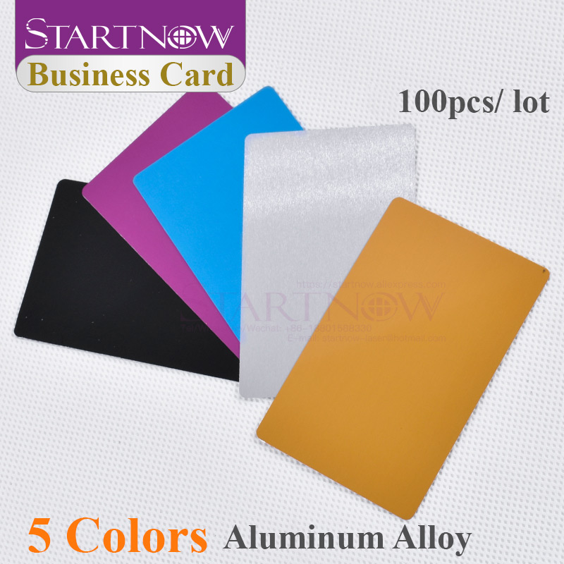 100pcs/lot Multicolor Business Card Smooth Blank Name Cards Aluminium Alloy Metal Sheet Debugging Laser Engraved Marking Machine