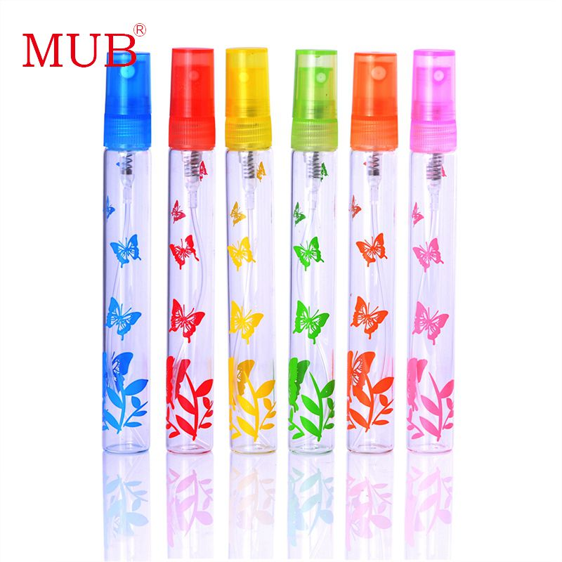MUB - 6Pieces/Lot 10ml Portable Mini Glass Spray Pump Bottle Perfume Atomizer Refillable Bottle For Traveler