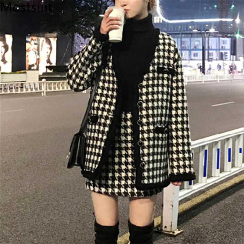 Houndstooth Vintage Two Piece Sets Outfits Women Autumn Cardigan Tops And Mini Skirt Suits Elegant Ladies Fashion 2 Piece Sets