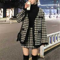 Houndstooth conjuntos de duas peças do vintage roupas femininas outono cardigan topos e mini saia ternos elegantes senhoras moda 2 peça conjuntos