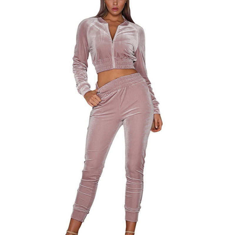 2020 Spring Female Outfits Velvet Sportswear Tracksuit For Women Pink 2 Piece Set Suit Short Sexy Clothes And Pants Clothing