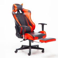 Ergonomic Racing Seat Games Chair Internet Office Reclining Chair Nylon Feet Lift Up Swivel Lying Seat Armchair with Footrest