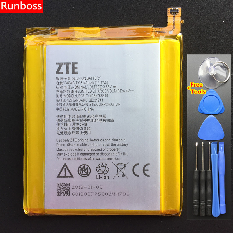 3140mAh Li3931T44P8H756346 Battery For ZTE Axon 7 / Axon 7S / A2017 / A2017U / A2017G / <font><b>A2018</b></font> / Grand X4 / Z956 5.5inch Battery image
