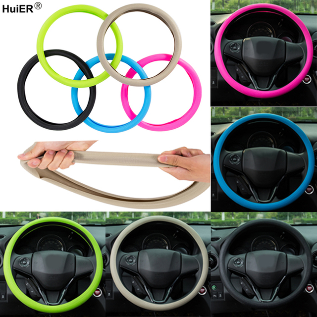 HuiER High Quality Food Grade Silicone Auto Steering Wheel Cover Anti slip for 36 40CM Car Styling Steering Wheel Free Shipping
